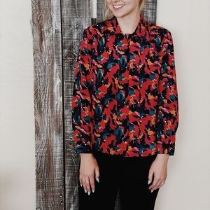 Abstract Print Vintage Blouse